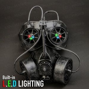Goggles and Gas Mask Steampunk Half Face Mask